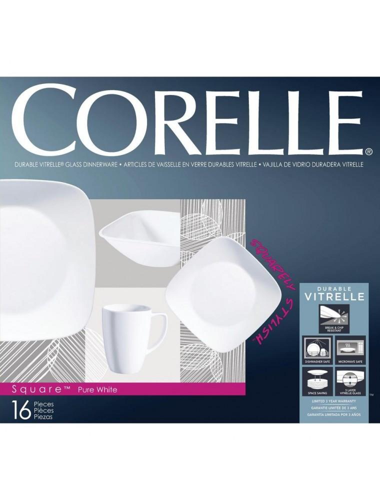 Corelle Square Pure White 16-pc Dinner Set